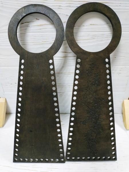 Деревянные ручки(основа-середина), для сумок-Цветы,цв-венге,13*38 см,цена за пару