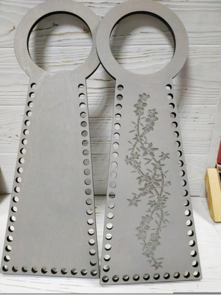 Деревянные ручки(основа-середина), для сумок-Цветы,цв-серый,13*38 см,цена за пару