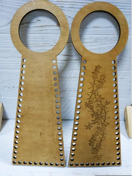Деревянные ручки(основа-середина), для сумок-Цветы,цв-св-коричневый,13*38 см,цена за пару