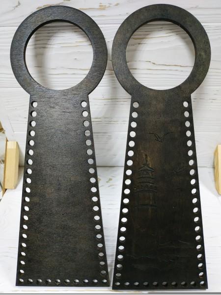 Деревянные ручки(основа-середина), для сумок-Маяк,цв-венге,13*38 см,цена за пару