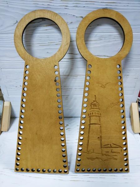 Деревянные ручки(основа-середина), для сумок-Маяк,цв-св-коричневый,13*38 см,цена за пару