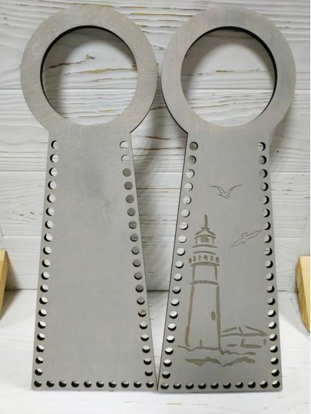 Деревянные ручки(основа-середина), для сумок-Маяк,цв-серый,13*38 см,цена за пару