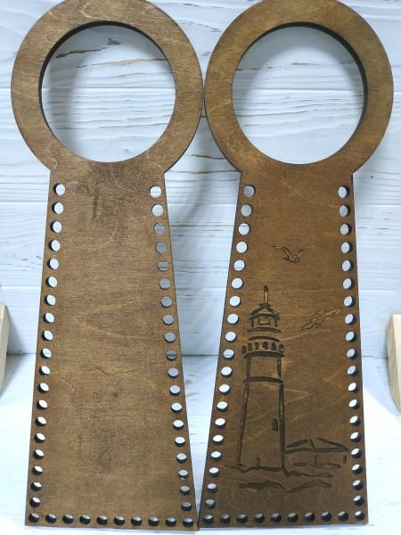 Деревянные ручки(основа-середина), для сумок-Маяк,цв-т-коричневый,13*38 см,цена за пару