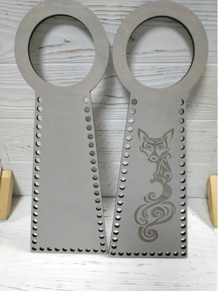 Деревянные ручки(основа-середина), для сумок-Лиса,цв-серый,13*38 см,цена за пару