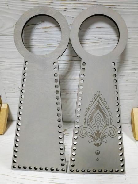 Деревянные ручки(основа-середина), для сумок-Мандала,цв-серый,13*38 см,цена за пару