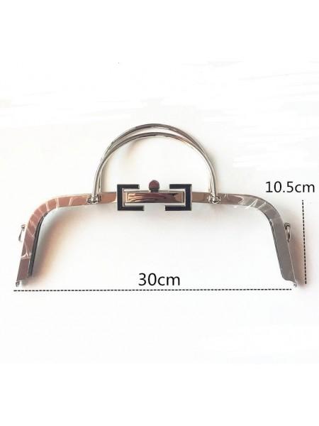 Фермуар с  двумя ручками для сумочки,на винтиках,цв-серебро, 30см