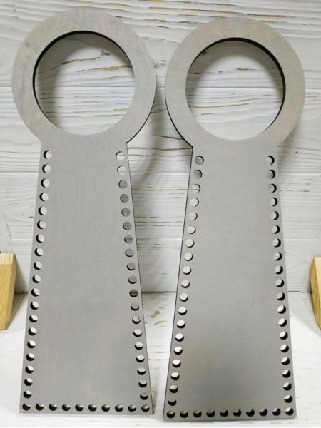 Деревянные ручки(основа-середина), для сумок-без рисунка,цв-серый,13*38 см,цена за пару