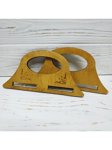 Деревянные ручки для сумки с гравировкой,цв-св-коричневый,14,5*7 см,цена за пару