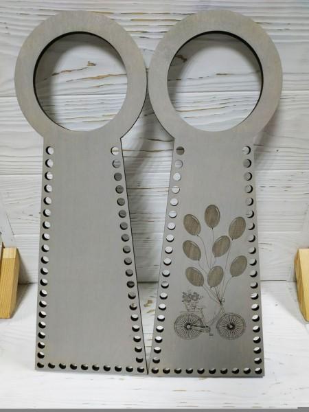 Деревянные ручки(основа-середина), для сумок-Птица,цв-серый,13*38 см,цена за пару
