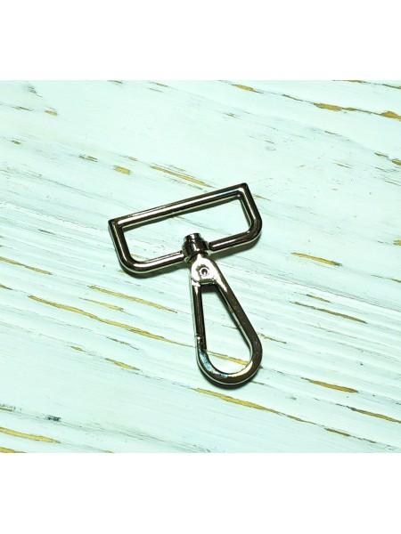 Карабин для ремней и сумок, шир 3,8 см  цв-серебро,цена за  1 шт