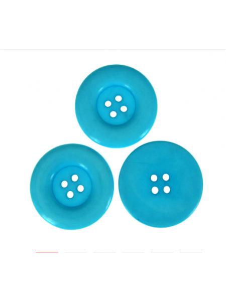 Пуговица большая на 4 прокола, цв-ярко-голубой, 30мм, цена за 1 шт