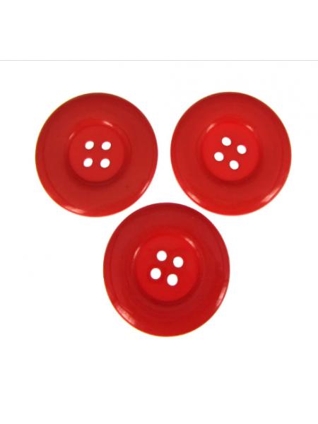 Пуговица большая на 4 прокола, цв-красный, 30мм, цена за 1 шт