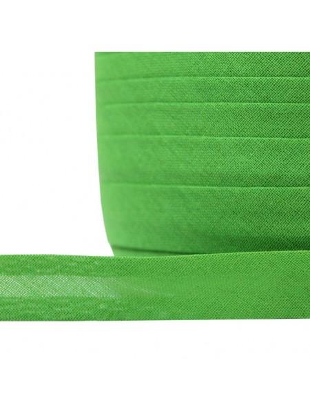 Косая бейка,цв-зеленый,хлопок,15мм. Цена за 1 м