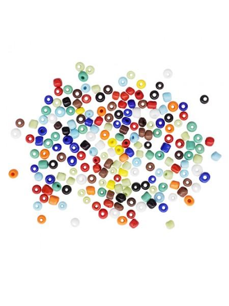 Бисер, (стекло)-Астра,, 6/0(крупный), упак./15 гр., цв-51 разноцветный/непрозрачный