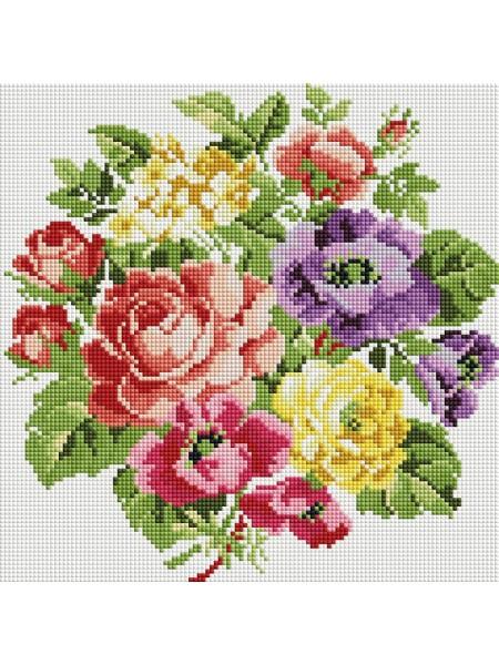 Набор Белоснежка для изготовления картин со стразами на подрамнике-Вальс цветов,30х30см,26 цв.