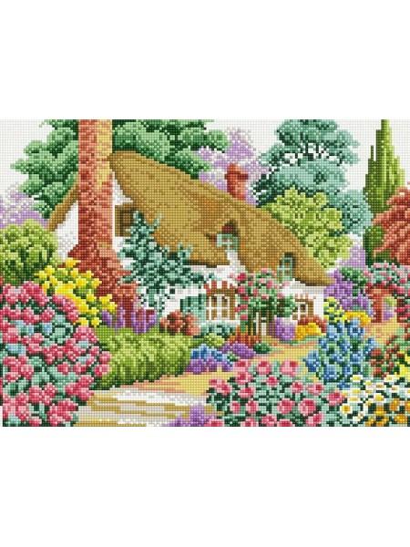 Набор Белоснежка для изготовления картин со стразами на подрамнике-Дом в саду,30х40см,32цв.