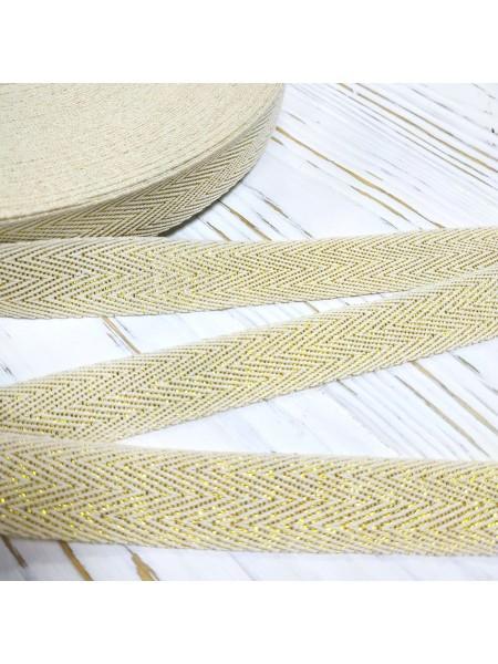 Киперная лента с люрексом цвет золото,20мм. Цена за 1 м