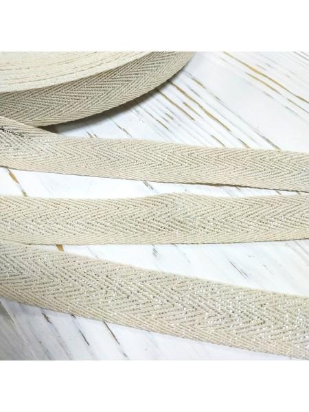 Киперная лента с люрексом цвет серебро,10мм. Цена за 1 м