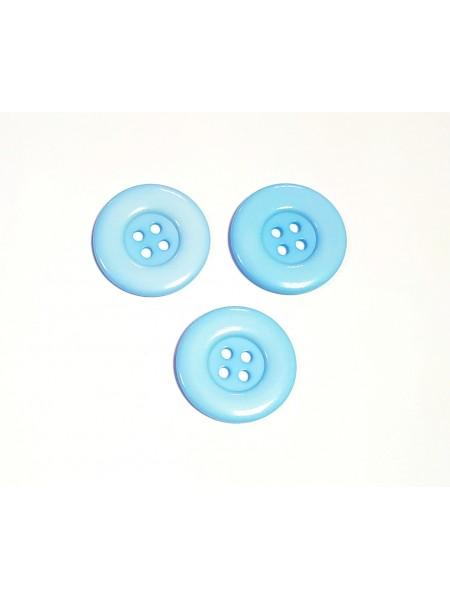 Пуговица большая на 4 прокола, цв-светло-голубой, 30мм, цена за 1 шт