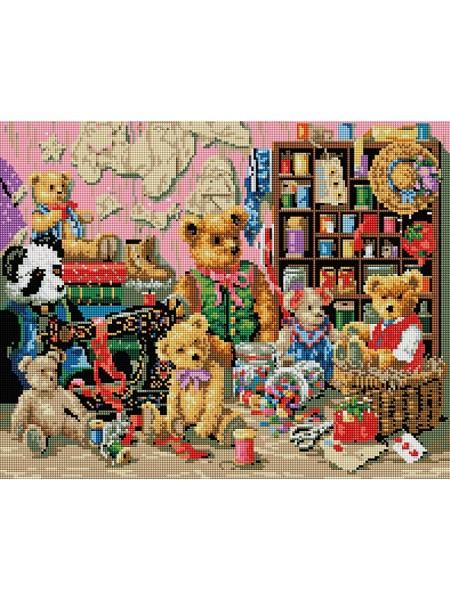 Набор Белоснежка для изготовления картин со стразами на подрамнике-Плюшевая коллекция 40х50см,34 цв.