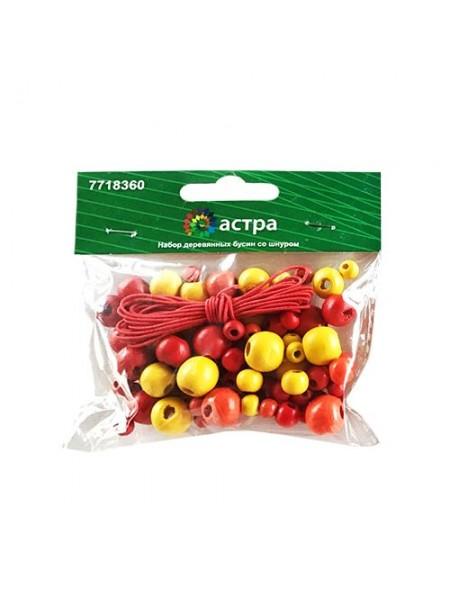 Набор деревянных бусин со шнуром, красный микс, 6,8,10,12мм, 90шт/уп
