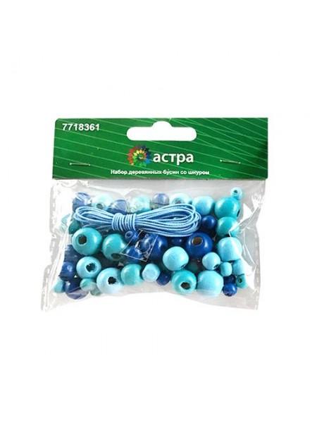 Набор деревянных бусин со шнуром, голубой микс, 6,8,10,12мм, 90шт/уп