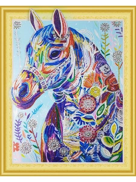 Цветочная лошадь- алмазная картина с фигурными стразами на подрамнике, 40*50 см, 16 цв