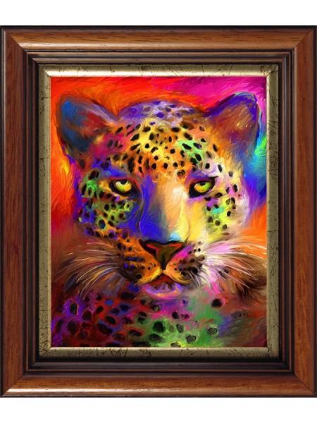 Цветной гепард - Картина со стеклянными стразами на подрамнике,40*50см,26цв