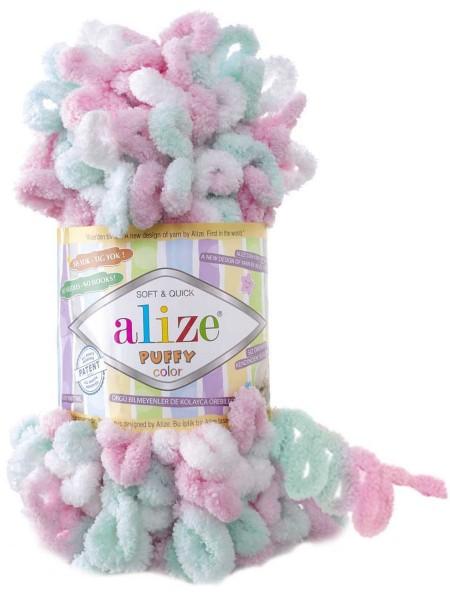 Пряжа Alize Puffy Color,цв-6052-цв-розовый-мятный  ,100 гр-9 м