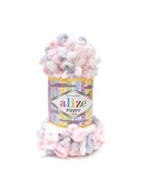 Пряжа Alize Puffy Color,цв-5864-цв-розовый-серый  ,100 гр-9 м
