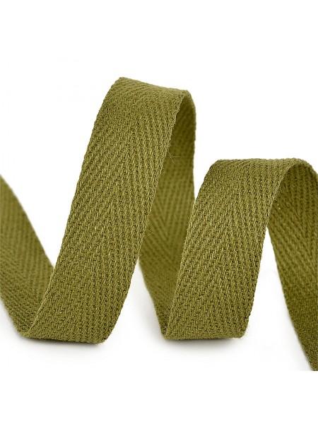 Лента хлопковая( киперная цв-тёмно-зелёный,хаки ),10мм,цена за 1 метр