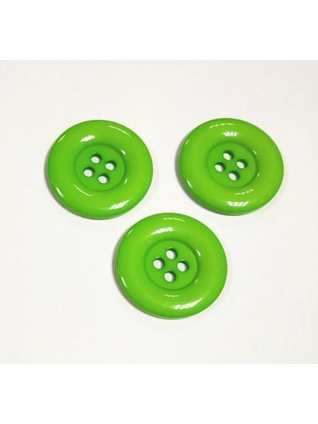 Пуговица большая на 4 прокола, цв-св-зелёный, 30мм, цена за 1 шт