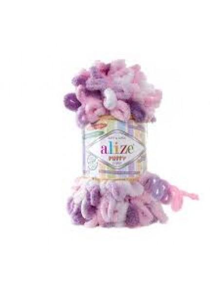 Пряжа Alize Puffy Color,цв-6077-цв-сиреневый-фиолетовый  ,100 гр-9 м