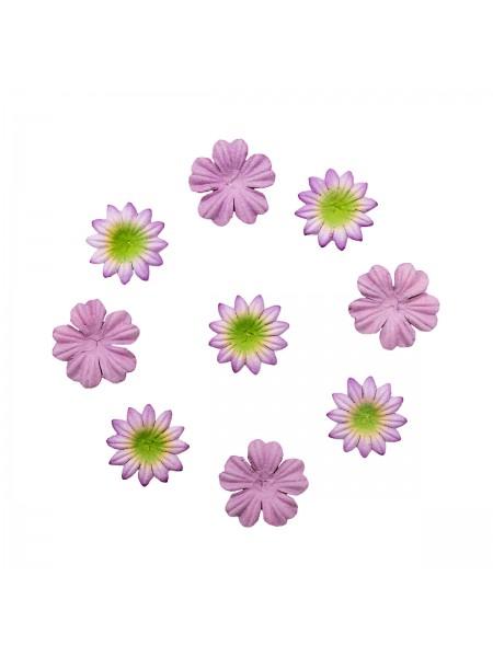 Набор цветков из шелковичной бумаги,лаванда, 2 вида,упак./20 шт.