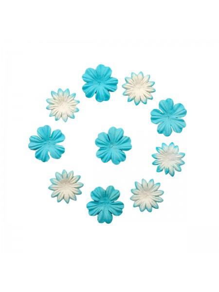 Набор цветков из шелковичной бумаги,бело-голубой, 2 вида,упак./20 шт.