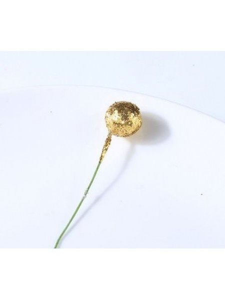 Ягодка  на проволоке,цв-золото-глиттер,10мм,цена за 1 шт