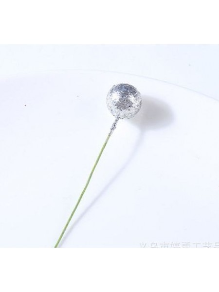 Ягодка  на проволоке,цв-серебро-глиттер,10мм,цена за 1 шт