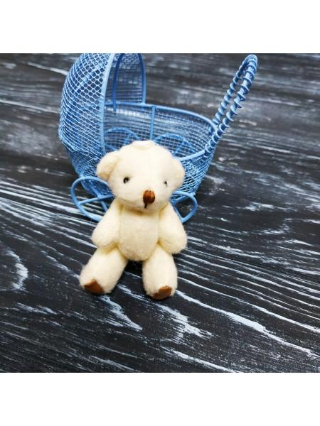 Игрушка для куклы(мишка с коричневыми пятками молочный),7см
