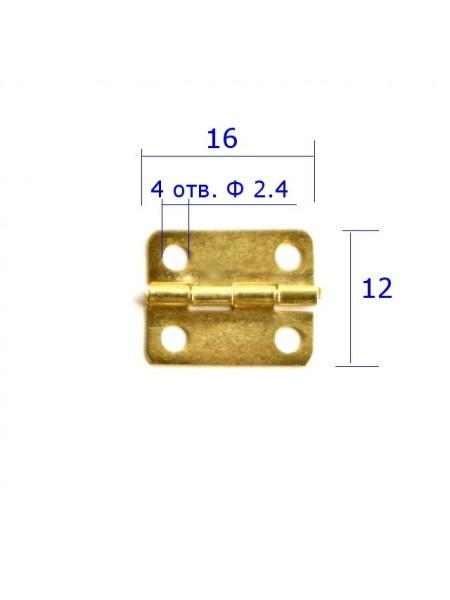 Петля для шкатулок 16*12мм, цена за 2шт.цв-золото