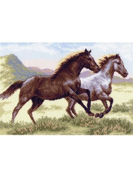 Рисунок на канве -37х49см - 1223 Бегущие кони