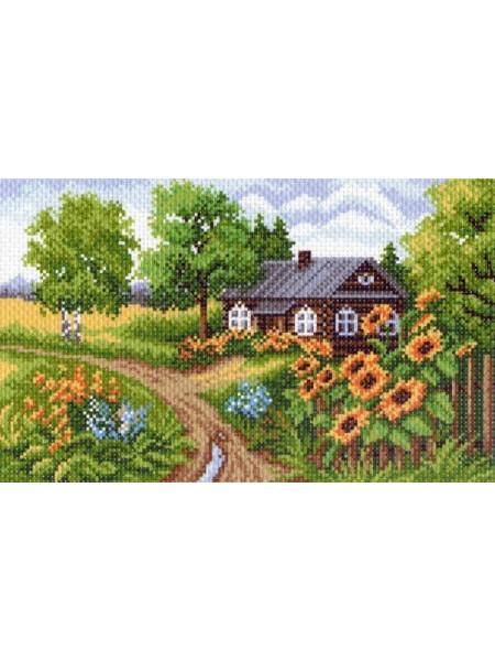 Рисунок на канве -рис-18х29см , Домик в деревне