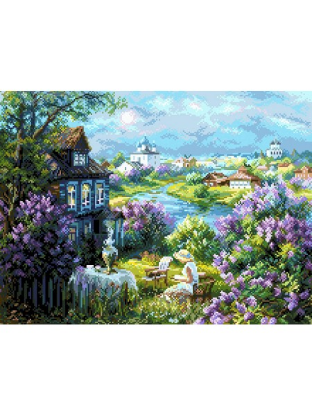 Рисунок на канве - 37х49см - 1931 Утро в деревне