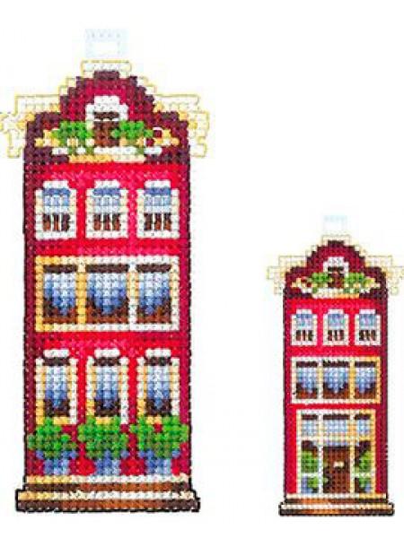 Набор для вышивания на пластиковой канве  'Домики. Красный домик' 5*10см