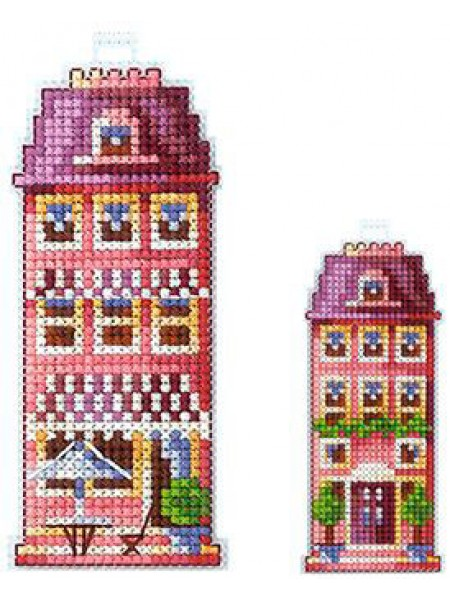 Набор для вышивания на пластиковой канве  'Домики. Розовый домик' 5*10см
