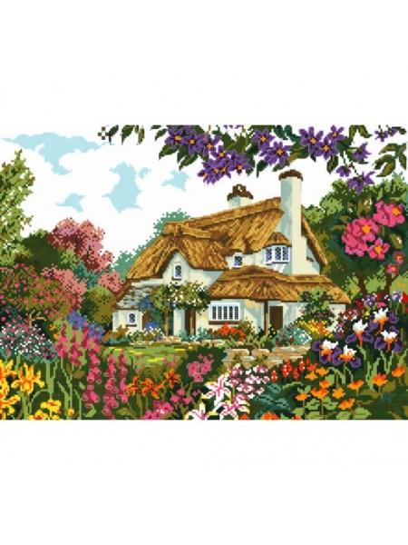 """Вышивка крестом Белоснежка- """"Цветы у дома"""" рисунок-40*29 см"""