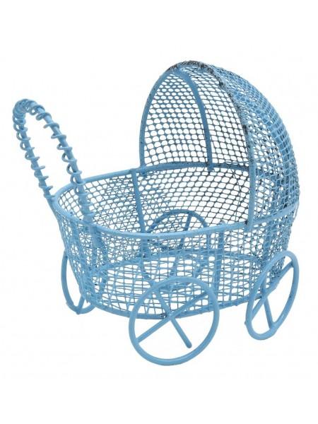 Металлическая коляска, голубая