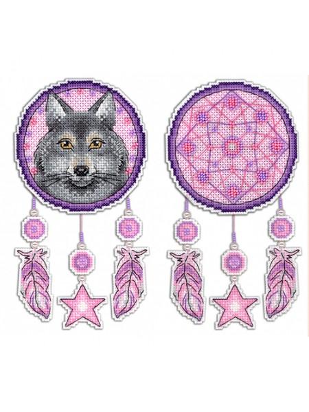 Набор для вышивания на пластиковой канве МП Студия 'Ловец снов. Волк' 10*15см