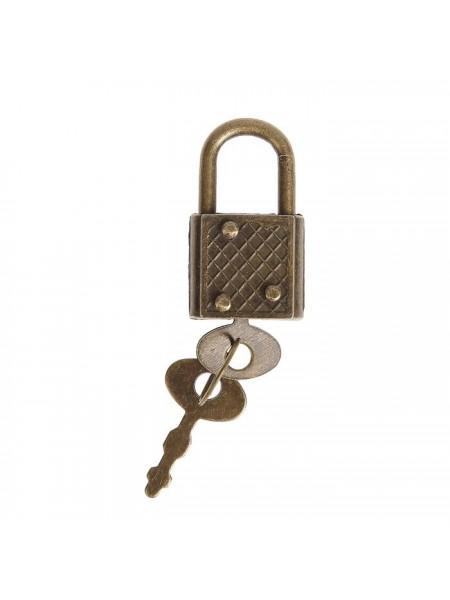 Замочек с ключиком для шкатулки металл,бронза 3,1*1,7 см(рабочий)