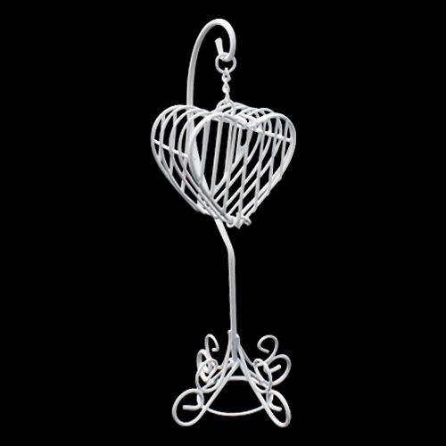 Металлическая подвеска 'Сердечко', белая. Ножка 9 см, сердечко 5*3 см