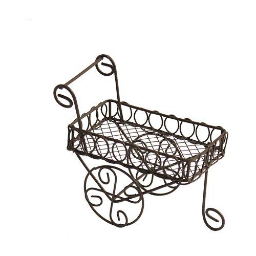 Металлическая садовая тележка, корич. 11*5*5,5*7,5см